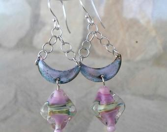 Lampwork Earrings, Enameled Brass Earrings, Glass Chain Earrings, Mixed Media Jewelry Christmas Gift for Her