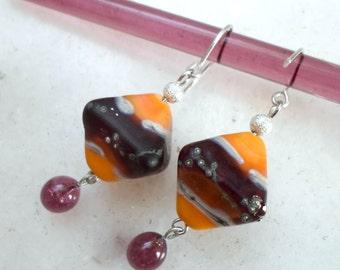 Lampwork Earrings, Handmade Glass Earrings, Orange Sherbet and Purple Handmade Jewelry Gift for Her, Summer Fashion Artisan Earrings