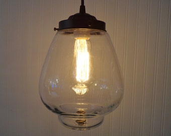 PENDANT Light with Edison Bulb of Vintage Globe