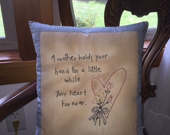 Primitive Shabby Mother Baby Shower Stitchery Embroidery  Pillow