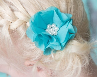 Teal hair clip, flower hair clip, teal wedding flower girl, birthday gift, girl hair accessory, toddler hair clip, baby hair clip, turquoise