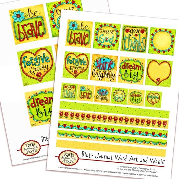 Word Art - Set 1 - Full-Color Bible Journaling Planner Banner Art INSTANT DOWNLOAD Scripture Digital Printable Christian