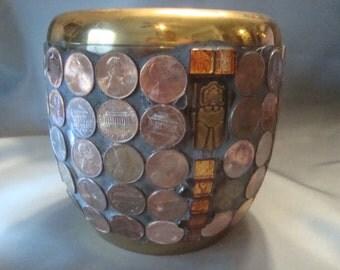 BRASS PENNY POT Mosaic  - Pot, Planter, Vase, Pencil Holder, Bank