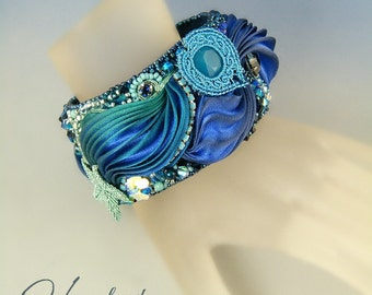 Into the deep , embroidery and Shibori bracelet cuff OOAK