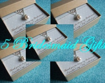 SET of 5 BRIDESMAID NECKLACES, Bridesmaid Jewelry Set of 5, Bridesmaid Jewelry Sets, Bridesmaid Necklace, Bridesmaid Set, Bridesmaid Jewelry