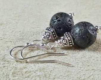 Lava Stone with Silver Earrings, Sterling Silver, Antique Silver, Lava Rock Jewels, Free Shipping
