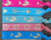 5 Pack Mermaid Inspired Knot Hair Ties Fold Over Elastic Stretch Bracelet by Whimsical Elements