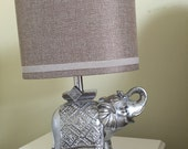 Silver elephant bedside or desk lamp with lampshade elephant room decor bedside table decor