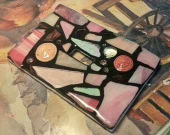 Pink Glass Mix - STAINED GLASS MOSAIC Light Switch Cover - single, double, triple, outlet, or decora gfci - Made to Order