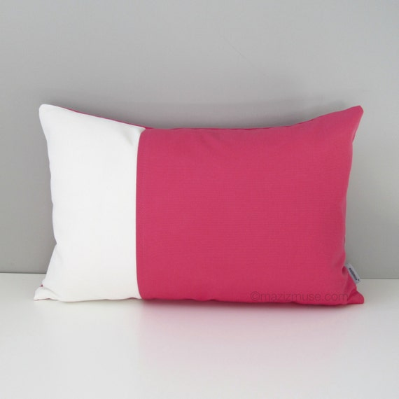 Hot Pink Outdoor Throw Pillows : Pink & White Outdoor Pillow Cover Decorative Pillow Case