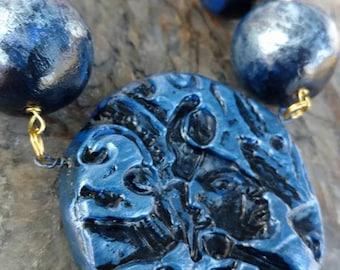 mayan maize god clay work necklace by la roca