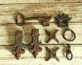VIntage Metal Finding, Salvage Metal Findings, Rust Metal, Rusty Iron Pieces, Vintage Assemblage, Lot of Antiqu Rusty Metal Findings, Pieces