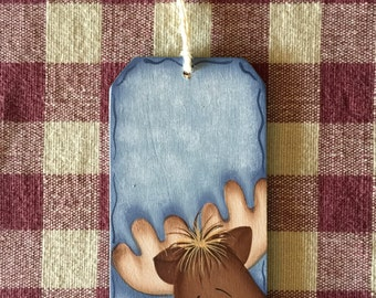 Small Blue Gift Tag Whimsical Reindeer Wood Christmas Ornament