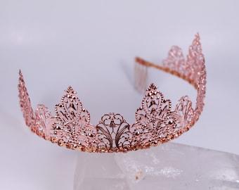 Naked Rose Gold Metal Filigree Phoenix Fantasy Renaissance Game of Thrones Tudor Medieval Tiara Crown