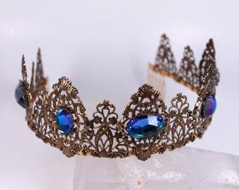 Glacier Blue Antique Gold Finish Tudor Filigree Tiara Crown Diadem Game of Thrones Renaissance Medieval