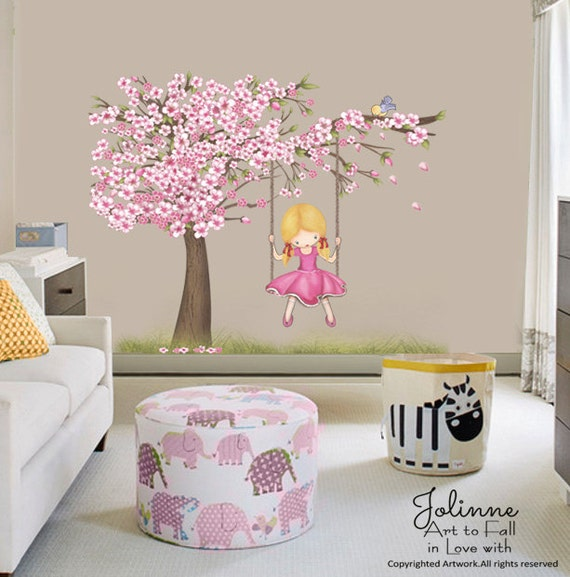 Cherry Blossom Tree Art Decal by jolinne