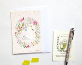 "Cards "" Princess swan "" + envelope, size 4 x6 "" swan, floral illustration"