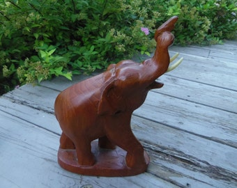 "Wood Elephant Hand Carved Trunk Up for Good Luck One Piece of Wood 9.75"" tall"