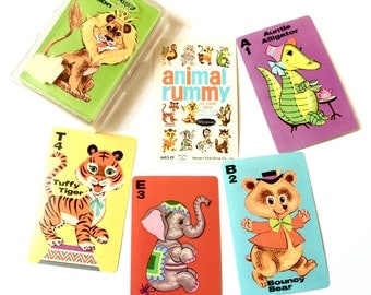 Vintage 1960s Childrens Game / 60s Whitman Animal Rummy Card Game in Box Complete Like-New / MCM Childrens Illustrations