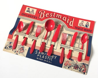Vintage 1950s Pretend Play Toy / 50s Childrens Bestmaid Plastic Tableware Set NOS / 3 Sets Available