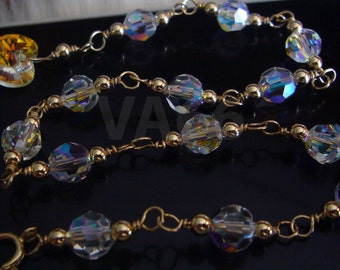 14K Gold Filled Swarovski 6mm Round Crystal AB Charm Anklet Color Choices Sterling 925 Silver Bridal jewelry, bridesmaids, Bride, Prom, MOB