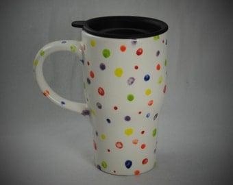 Confetti Ceramic Travel Mug with  a Lid