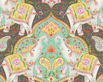Season of Love Fabric Elephants and Paisley Detailed Motif from India on Gray