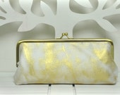 Metal Frame Pouch - Gold Marble - Pencil Case - Glasses Pouch
