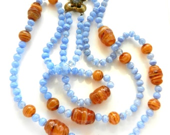 Alluring shades of blue cornflower & amber 1950s 2 strands Art Glass Necklace - feminine beauty with a lovely flower shaped clasp- Art.483/4