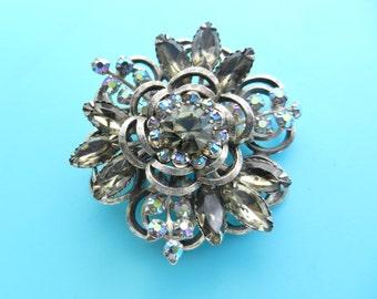 Vintage Costume Jewelry Rare SELRO SELINI Tiered Smokey Topaz AB Stones Brooch Pin -1950s vintage dazzling brooch - Art.197 -