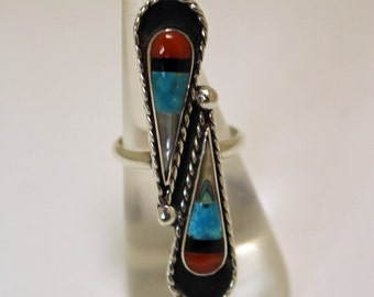 Zuni Inlaid Silver Ring Native American