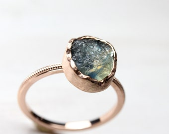 Rough Bi-Color Montana Sapphire Engagement Ring Rose Gold Milgrain Band Rustic Nature  Blue Pink September Birthstone - Mystic Mountain