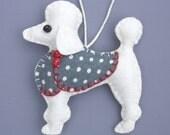 Poodle Christmas ornament,White Poodle,,Felt dog ornament, Poodle decoration, Dog Christmas Ornament, Handmade felt Poodle.Bonbon.