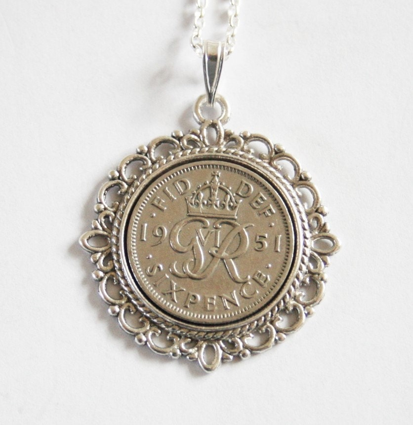 1951 Birthday Gift. Lucky Sixpence Necklace. 1951 Jewelry