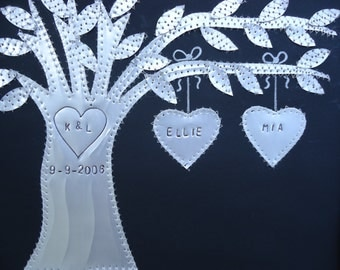 Tin Anniversary Gift 10 Year Wedding Gift Hearts Family Tree Personalized Engraved Dates and Names Stamped