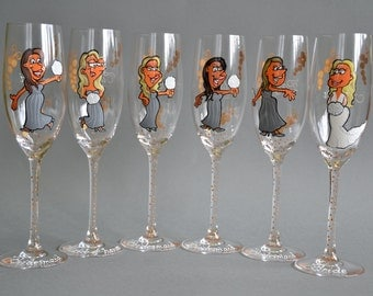 SALE Bridal shower party Custom Wine or Champagne Glasses Personalized Caricatures Cartoon portraits Handpainted to their Likeness