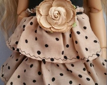 Black and tan polka dot dress for MSD size doll Kaye Wiggs or similar size
