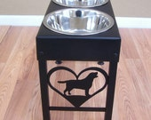 Custom Lab Feeder with Name and Paws Steel Grey