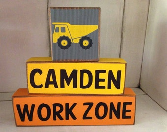 New Design!  Boys or Girls Dump Truck Construction Work Zone Sign Distressed Rustic  Wood Sign Blocks