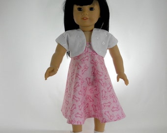 18 inch doll clothes made to fit dolls such as American Girl, 2 piece outfit, Pink Bunny Sundress with White Eyelet Shrug, 03-0992