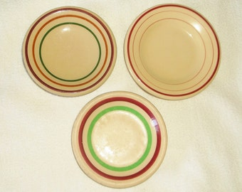 3 Vintage Tan w/ Rings Butter Pats / open salts