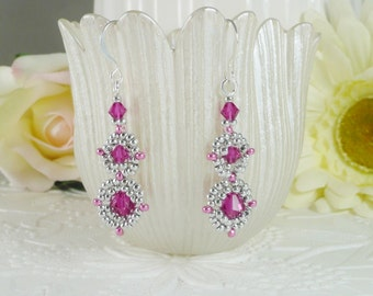 Woven Earrings in Silver and Swarovski Fuchsia Crystal Linked Medallion Style