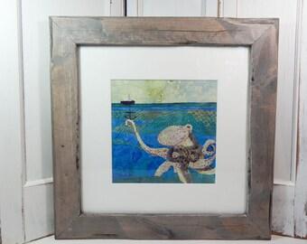 Octopus - original framed fabric collage