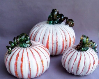 Hand Blown Glass Pumpkins - Set of 3, Art Glass, Curly Stem.