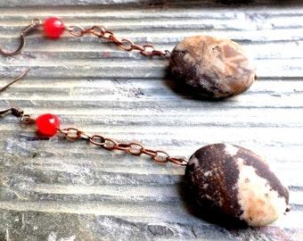 boho style dangling earrings with jasper gemstone and red agate//copper//jasper//agate//boho earrings//boho style//dangle earrings//jasper