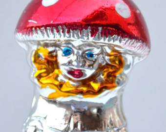 Vintage Glass Christmas Ornament Mushroom Figural Oddity