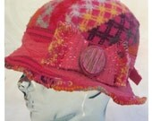 Handmade Winter Red Hat Soft Recycled Fabric Cloche Hat