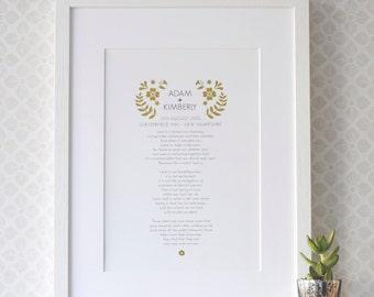Personalized Wedding Anniversary Poem Art Print, gift for wedding anniversary, gold foil wedding gift, love poem, first anniversary