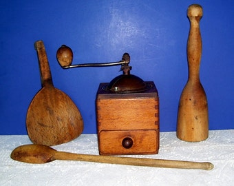 Primitive Wood Coffee Grinder, Potato Masher, Long wood Spoon, Butter Paddle, Rustic Kitchen, Country Kitchen, Vintage Kitchen, Farm House,