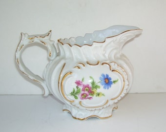 Royal Danube China Hand Painted Pitcher, Fancy Scrolled Pitcher, Trimmed with Gold, Wedding Present, Gift to Someone Special,